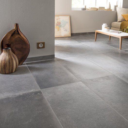 Carrelage Sol Et Mur Anthracite Effet Béton Harlem L.40 X L.80 Cm