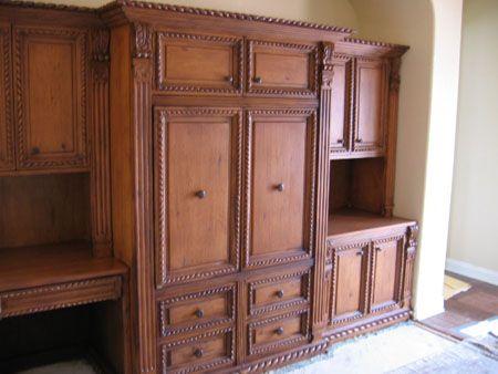 wood cabinet built-in | Wood veneer, Refinish kitchen ...