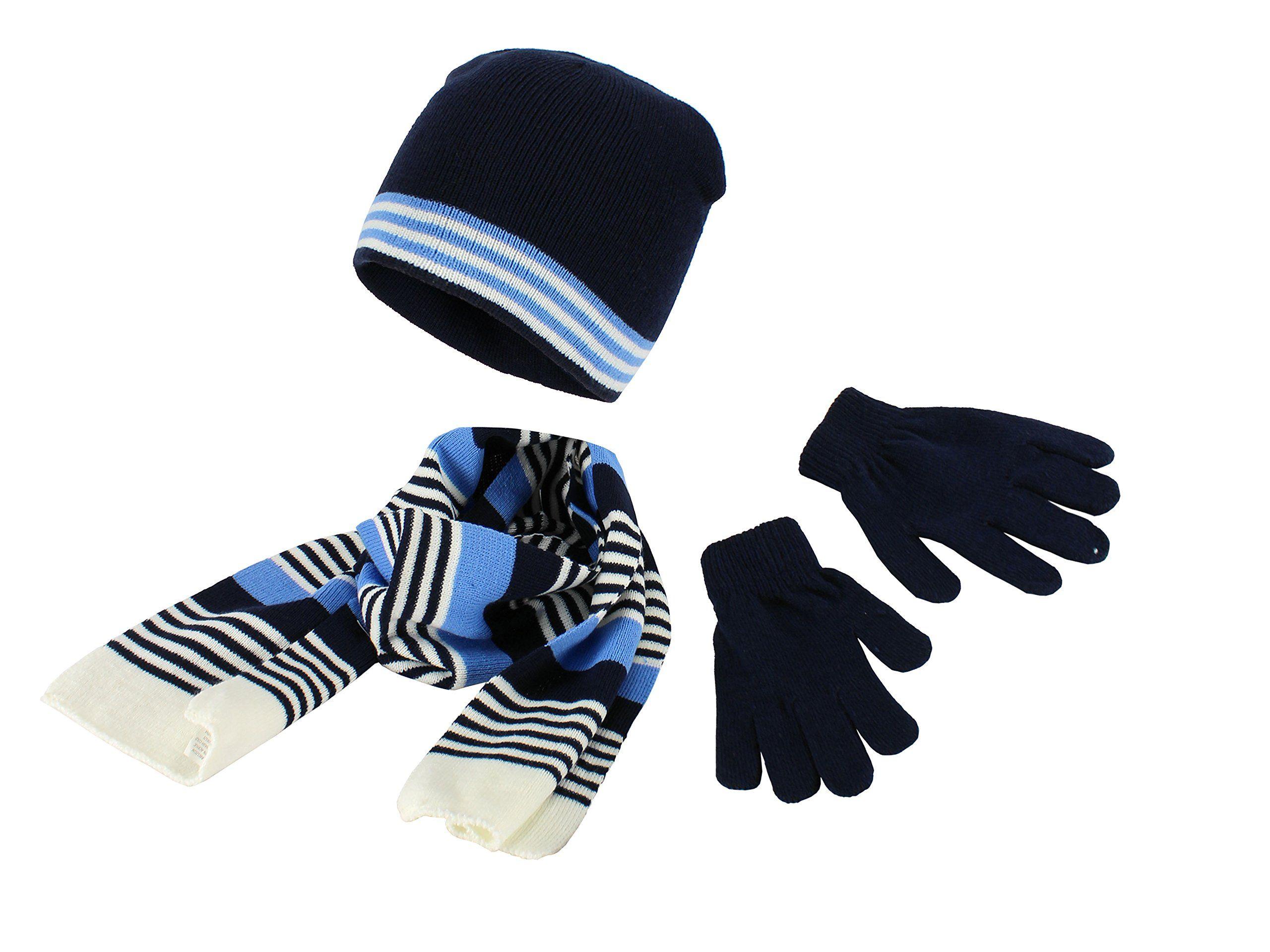 Navy Polar Wear Boys Knit Hat Scarf And Gloves Set