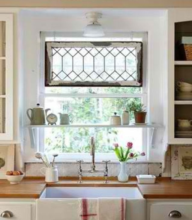 Above the kitchen sink window treatments kitchen for Kitchen window treatments above sink