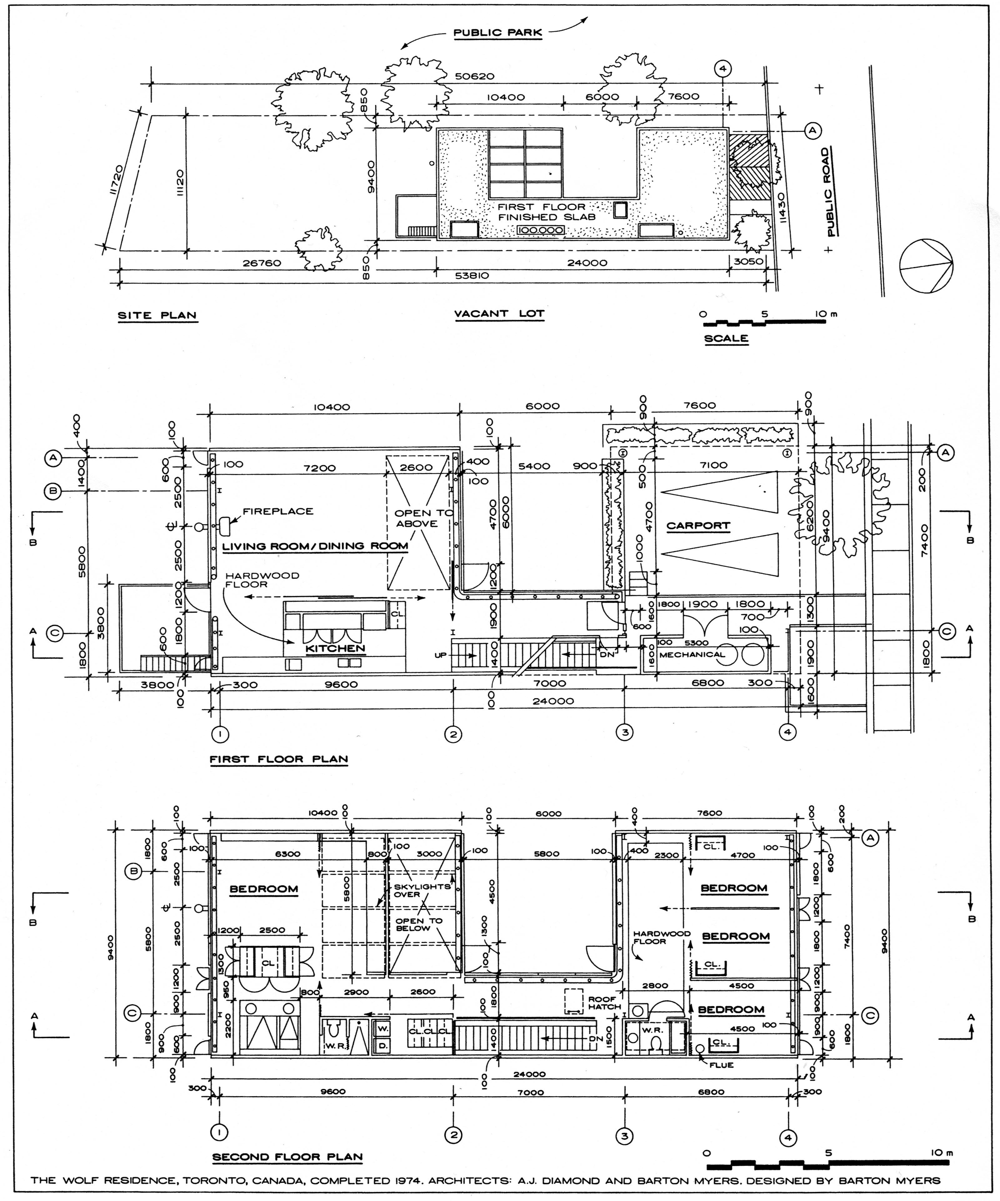 Site Plan And Floor Plans The Wolf Residence By Barton Myers Note That These Architectural Sheets Are No Architecture Blueprints Site Plan Drawing Site Plan