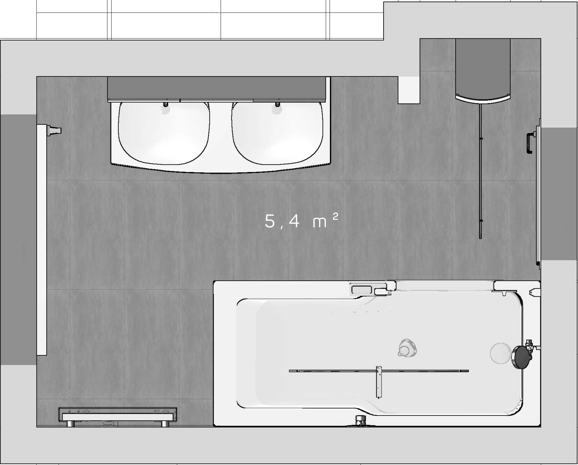 Der Grundriss des neuen TWINLINE 2 Wannenbads auf 5,4 m². Im ...