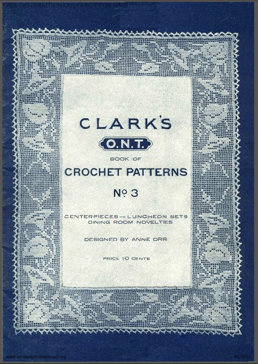 Clark\'s Crochet Patterns #3 - in the public domain. Antique Pattern ...