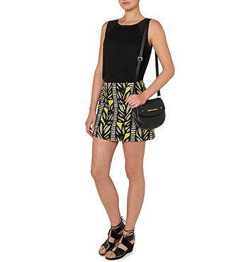 MARCS   The Whitney Gilmore Edit - GRAPHIC LEAF A-LINE MINI SKIRT