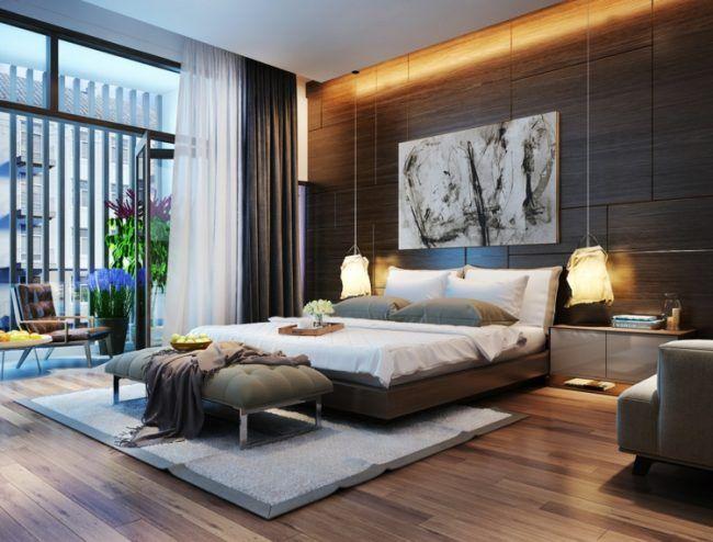 beleuchtung-schlafzimmer-holzpaneele-pendelleuchten-laminat-bett - beleuchtung für schlafzimmer