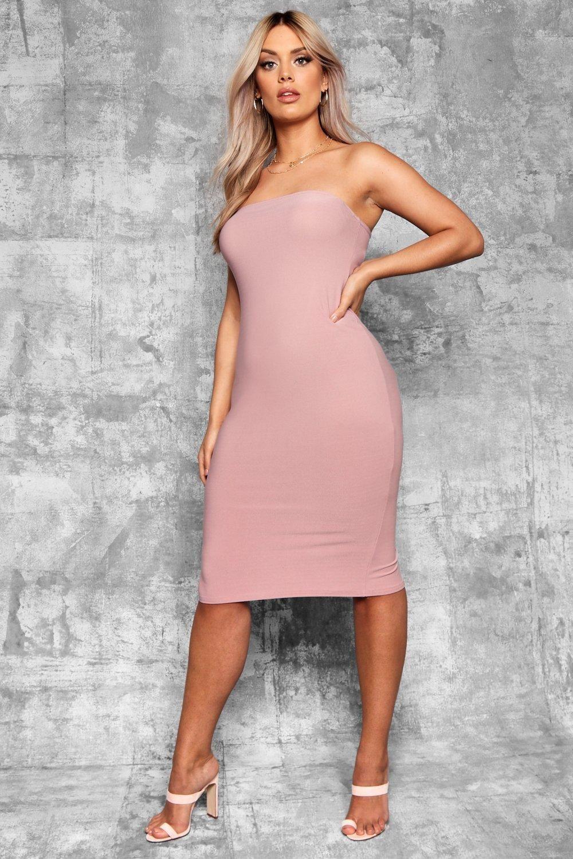 Plus Bandeau Fitted Midi Dress Boohoo Fitted Midi Dress Bodycon Fashion Dresses [ 1500 x 1000 Pixel ]