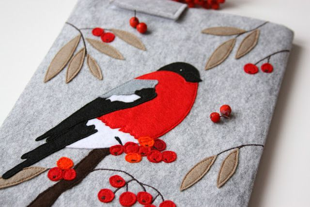 Beautiful appliqued felt bird book cover
