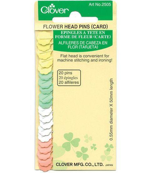 Clover Clover Flower Head Pins - 20 Count Carded - Sewing Supplies ... : flower head pins quilting - Adamdwight.com