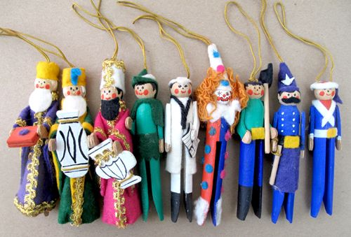 Clothespin people ornaments vintage clothespin ornaments clothespin ornaments clothespin characters vintage cowboy ornament set of 3