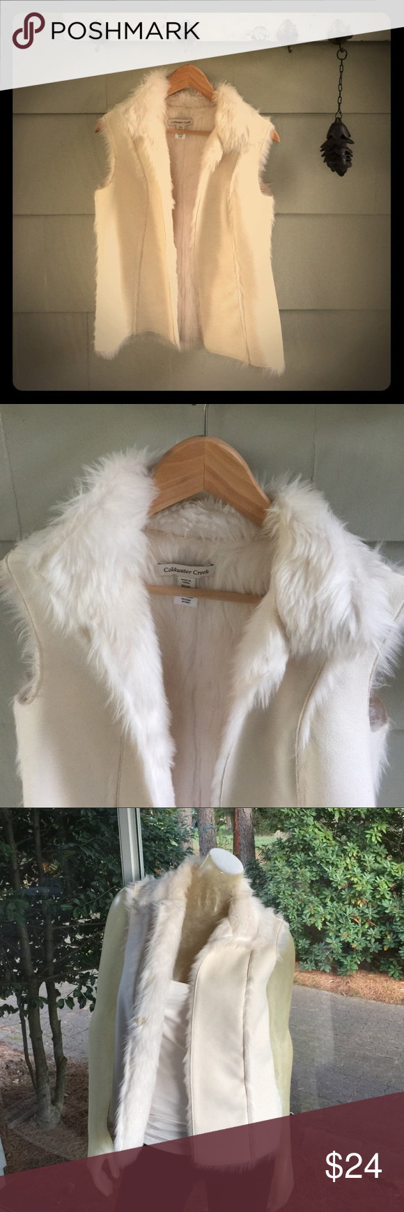 Coldwater Creek Faux Shearling Suede Vest Size XS Coldwater Creek Soft Shearling and Suede Vest (Faux--polyester and acrylic). Excellent condition. Size XS, fits a 2-4 best, IMO. No trades, please. Coldwater Creek Jackets & Coats Vests