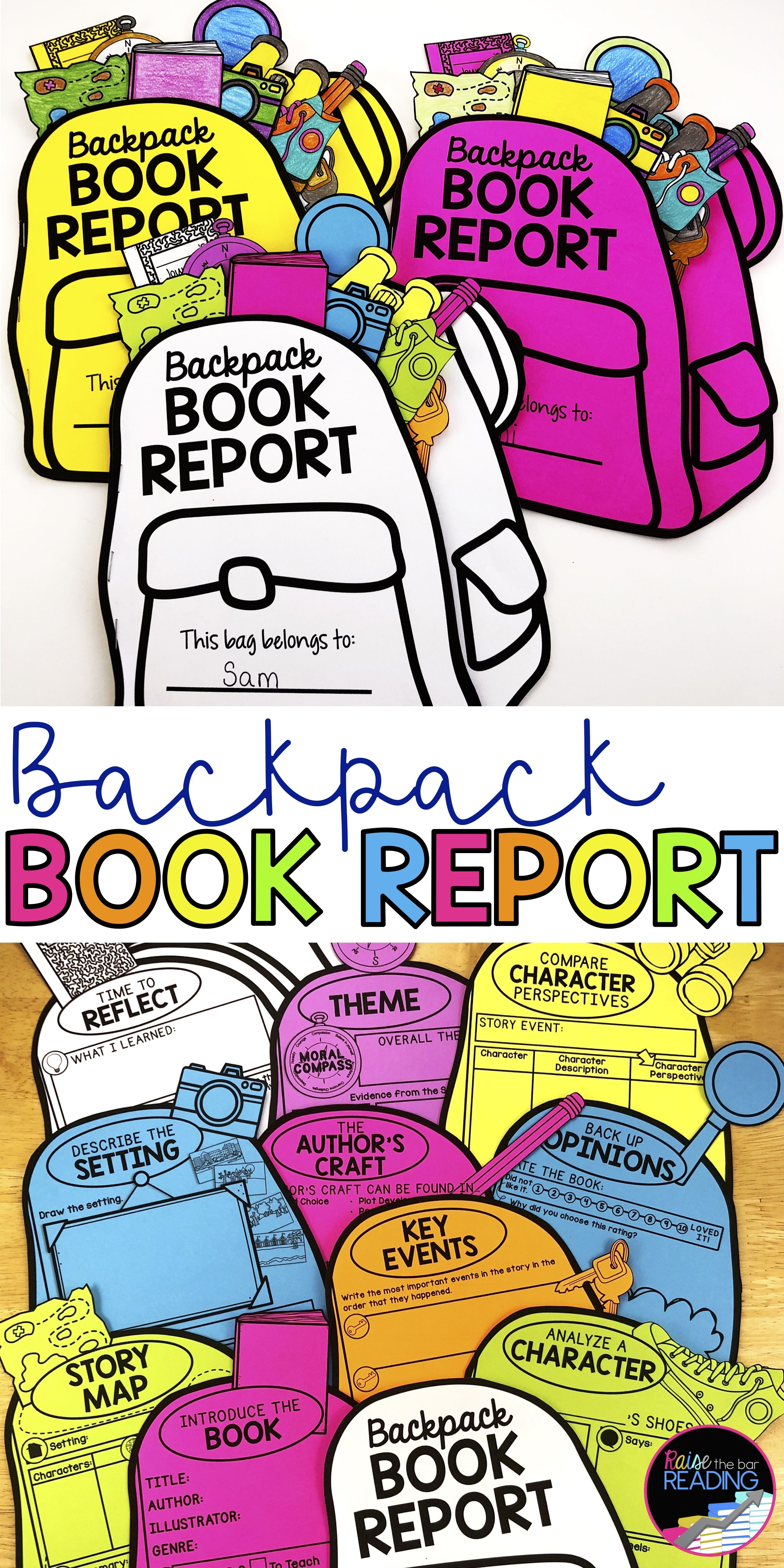 Backpack Book Report Fiction Reading Response for any