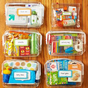 quick to-go baggies for every need. car games,  boo boos,  waiting rooms. Brilliant!