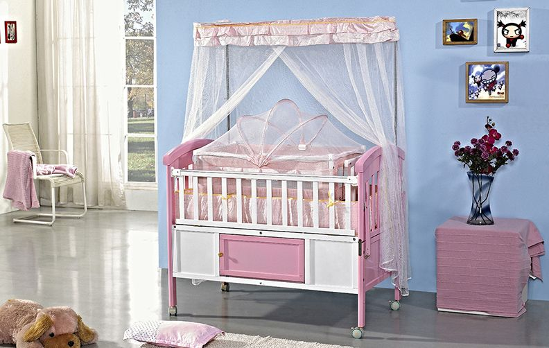 Baby Cot Crib Bed Pink Color Nepal Cambodia Hot Sale