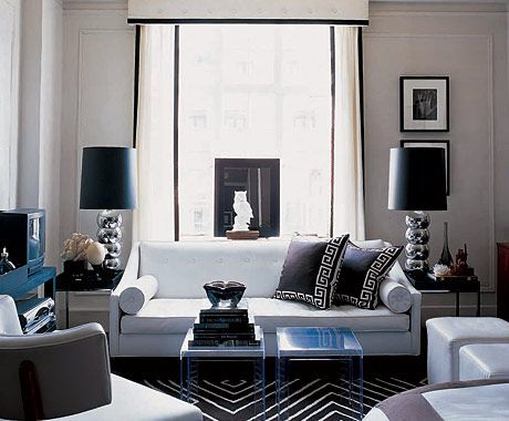 Ron Marvin   Living Rooms   Black And White Living Room, Black An White  Valance, Living Room Valance, Greek Key Pillows, Black Greek Key Pil.