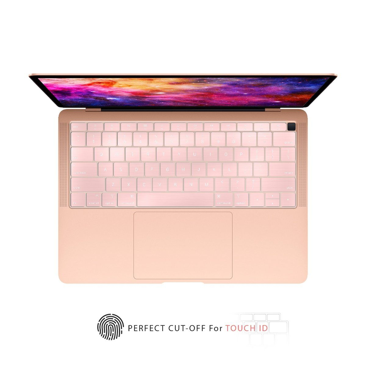 Top Case Ultra Thin Silicone Keyboard Cover Skin Compatible With 2018 Release Macbook Air 13 Inch With Retina Display Fits Touch Id Model A1932 Rose Gold Macbook Air 13
