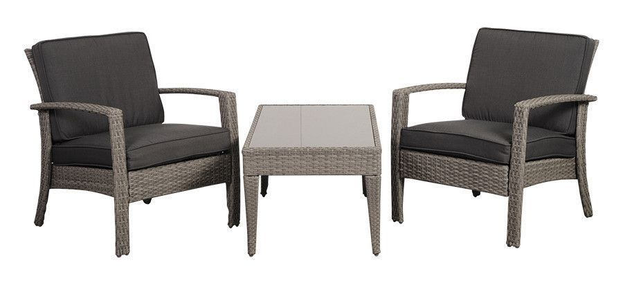 Florida Deluxe Grey Wicker Patio Conversation Set with Grey Cushions - (Set of 3)