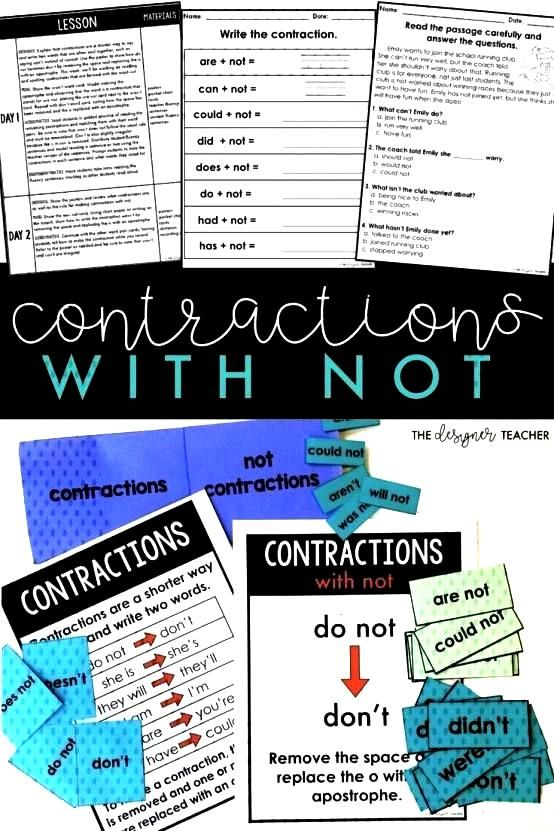 your students how to read spell and identify contractions with not such as arent dont and couldn