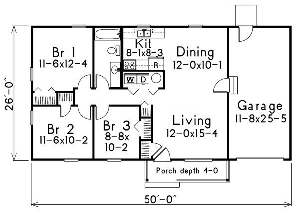 Ranch Style House Plan 3 Beds 1 Baths 988 Sq Ft Plan 57 107 Ranch Home Floor Plans Ranch Style House Plans House Floor Plans