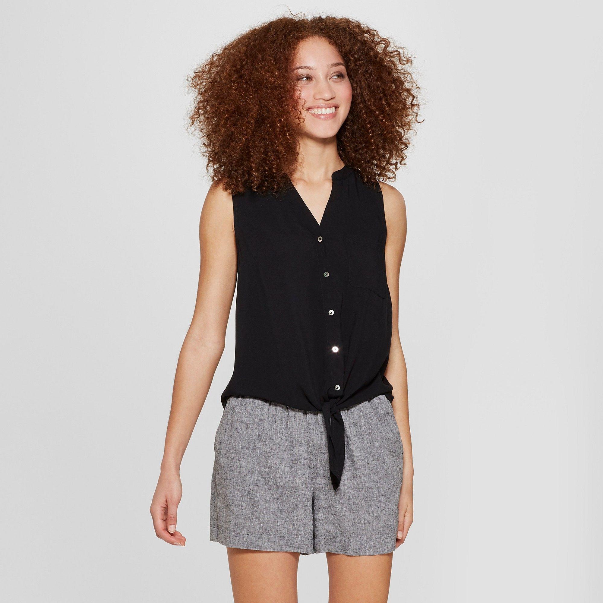 0b1217b62cd24 Women s Sleeveless Button-Down Tie Front Top - A New Day Black Xxl ...