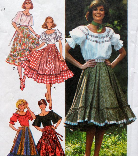 Peasant Skirt Blouse Pattern Gypsy Boho Square by WildPlumTree ...