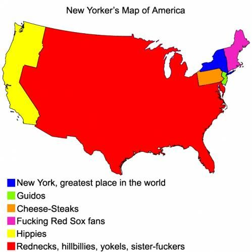 US map according to New Yorkers... If You Noticed... Theres ...