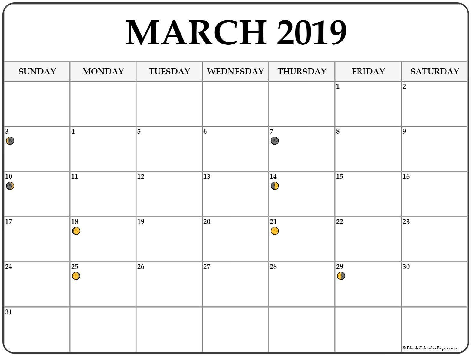 Lunar Phases March 2019 Moon Calendar Calendar Template 2020