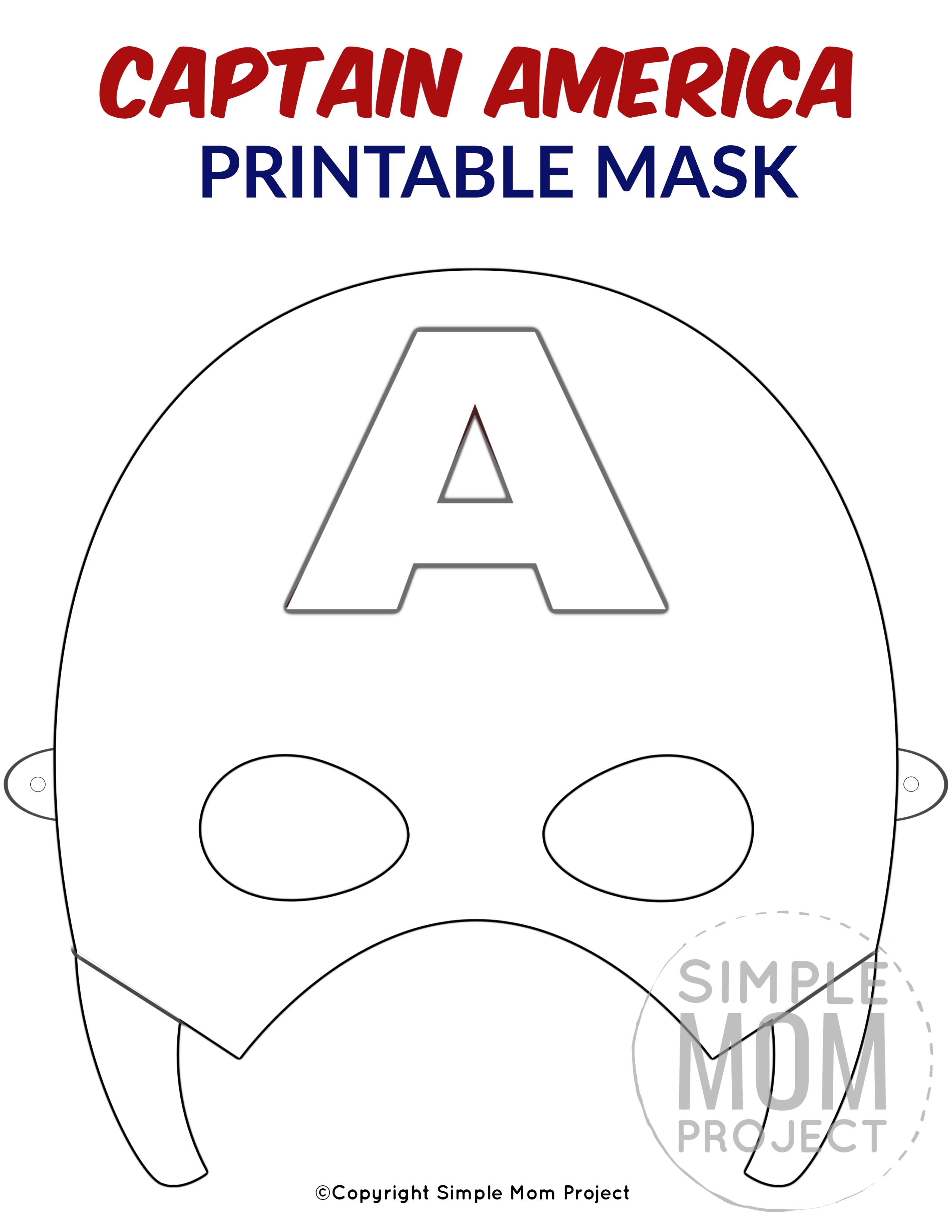 Free Printable Captain America Mask Template Captain America Coloring Pages Captain America Mask Superhero Mask Template