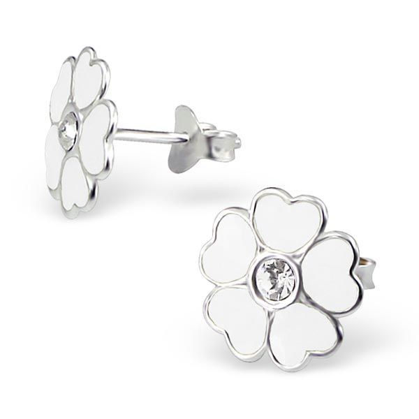 d9ac149fd Childrens White Flower Real Sterling Silver Stud Earrings ...