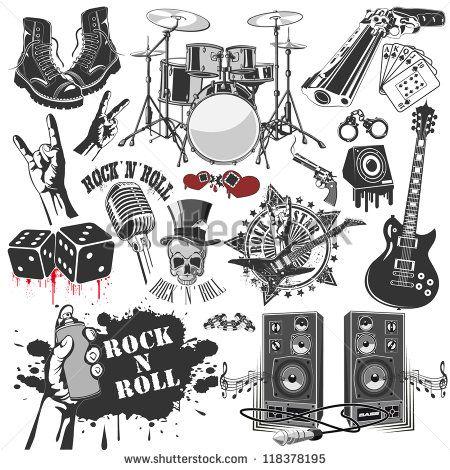 Conjunto De Smbolos Em Vetor Relacionados Ao Rock And Roll Rock