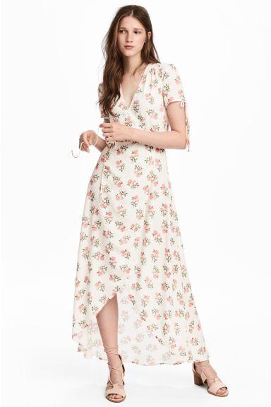Vestido cruzado con estampado - Blanco/Floral - MUJER | H&M ES