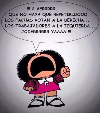 Mafalda recuerda a quién votar...
