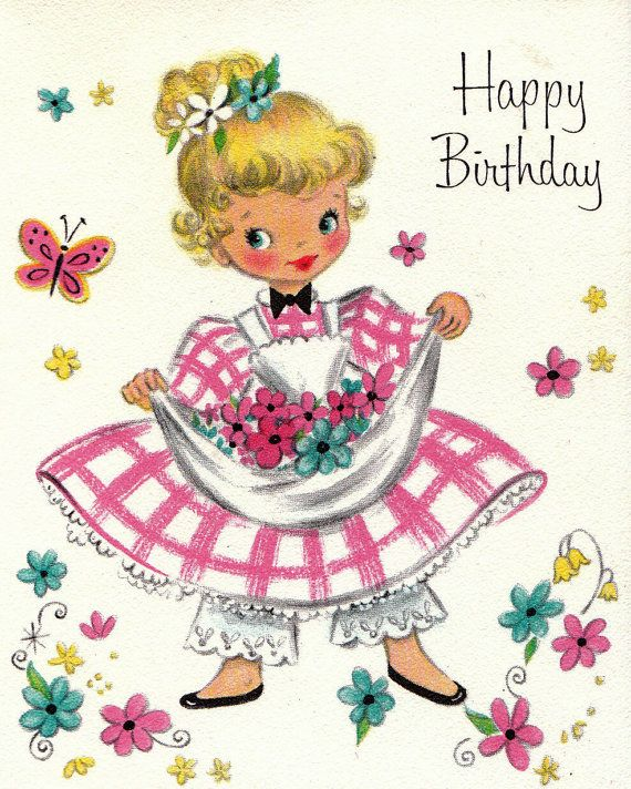 Hallmark 1950s Happy Birthday Greetings Card