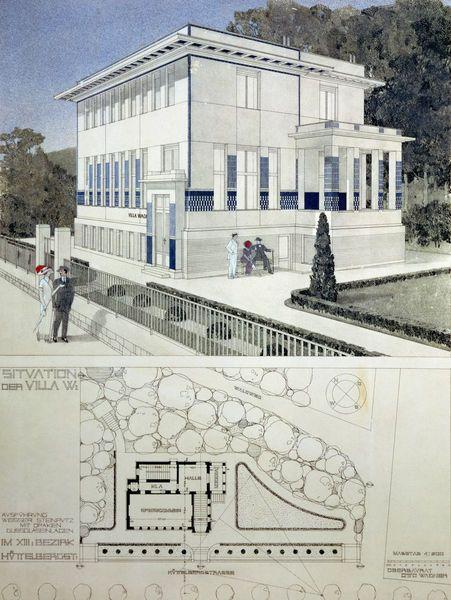 Otto wagner watercolor vienna secession by james krohn wien architektur jugendstil - Beruhmte architektur ...