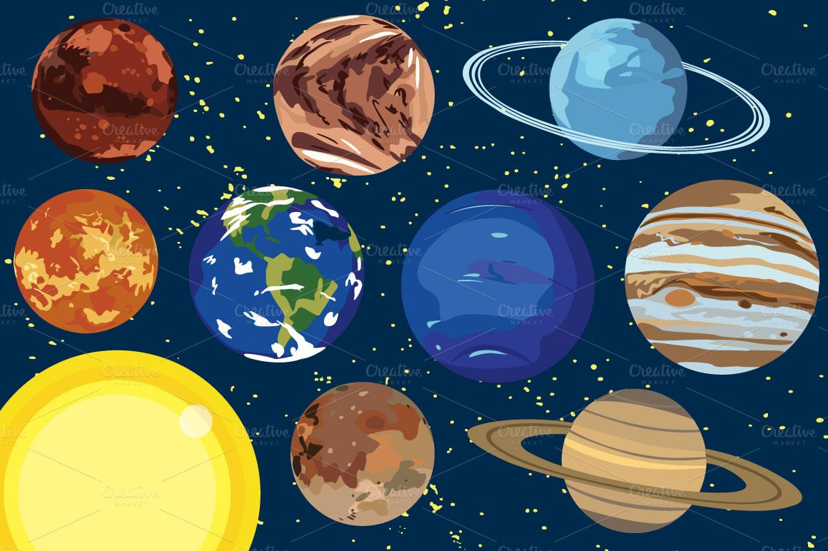 Solar System Planet Vector Clip Art by Paula Kim Studio on ...