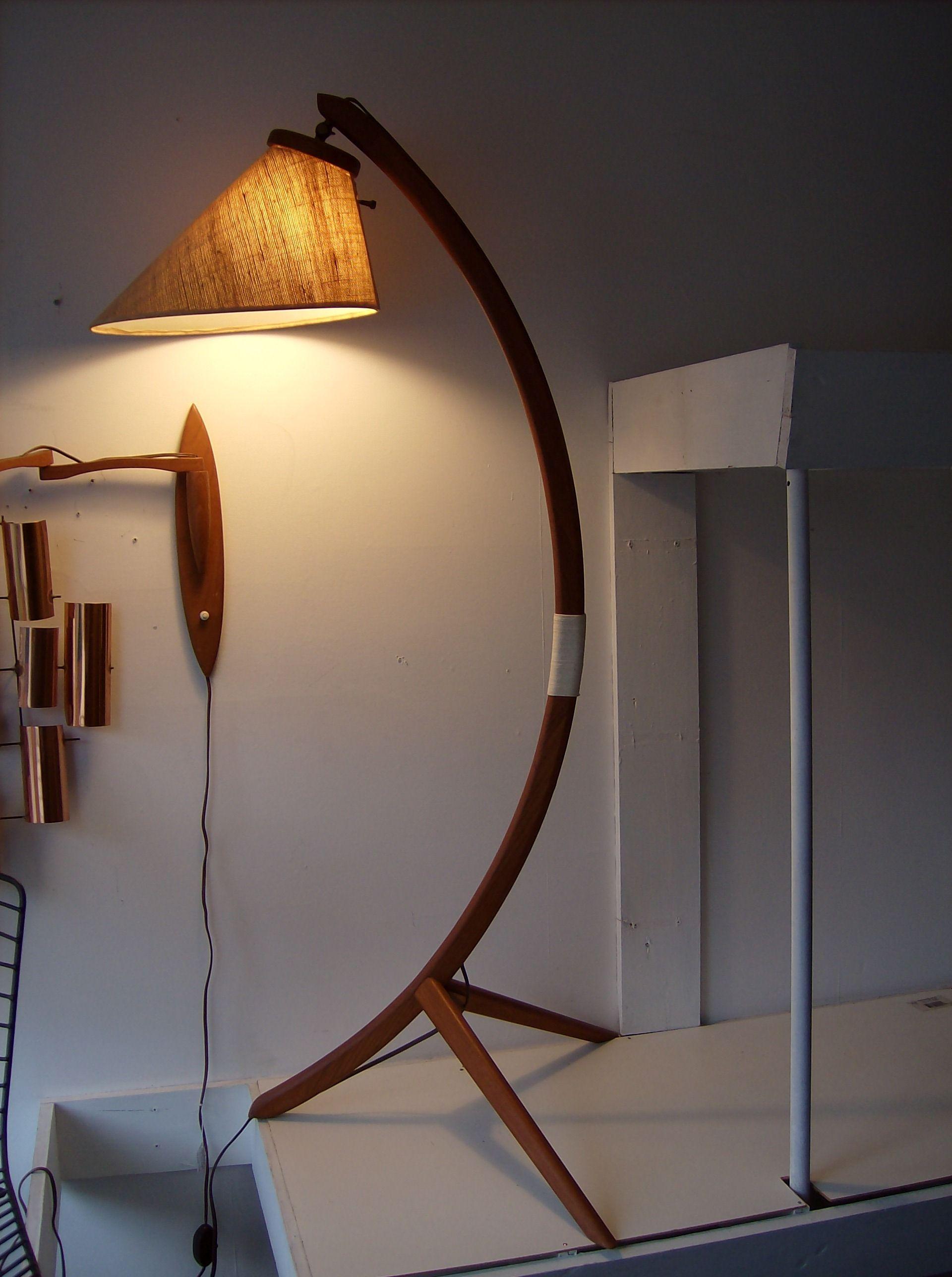Striking Danish Teak 3 Legged Floor Lamp Spectacular