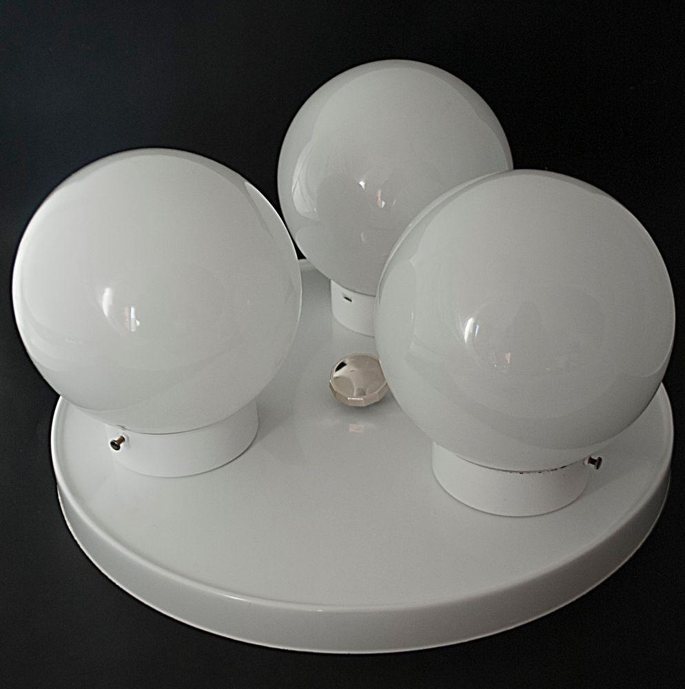 Mid Century Modern 3 Globe Ceiling Light Fixture White