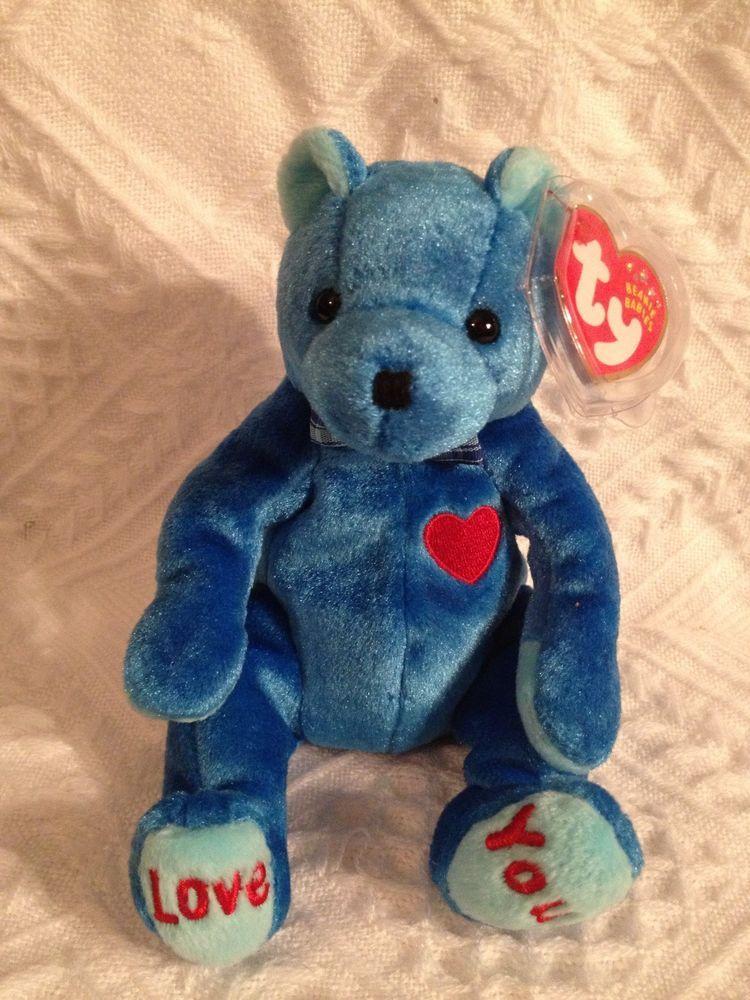 Ty DAD-E  Bear ~  SOLID BLUE W/ LOVE YOU ~ Beanie Baby ~ MWMT'S ~RETIRED #TyBeanieBaby