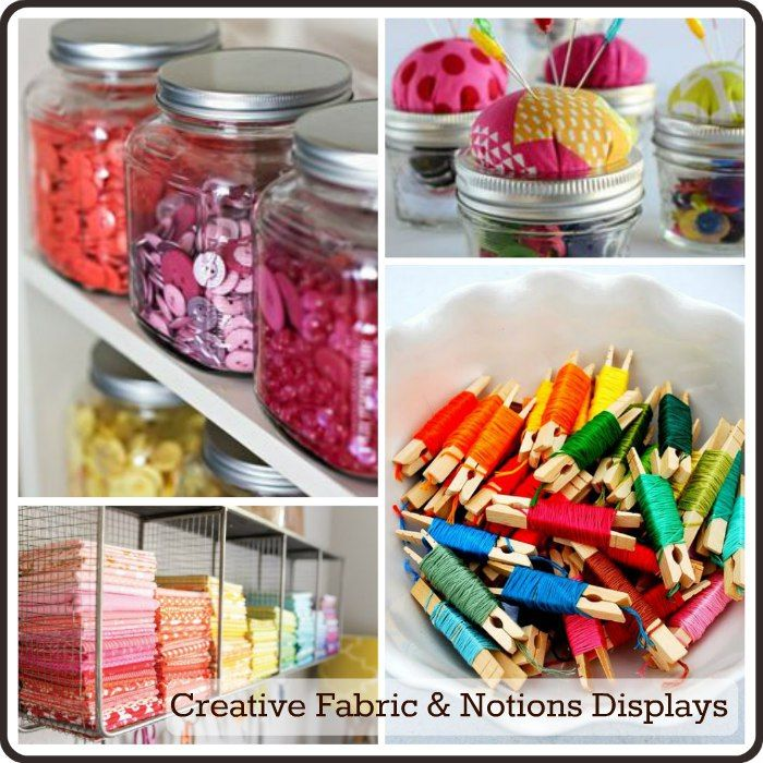 fabric & notions display - colorful enough to print and frame for a sewing-friend gift or for your own studio inspiration!