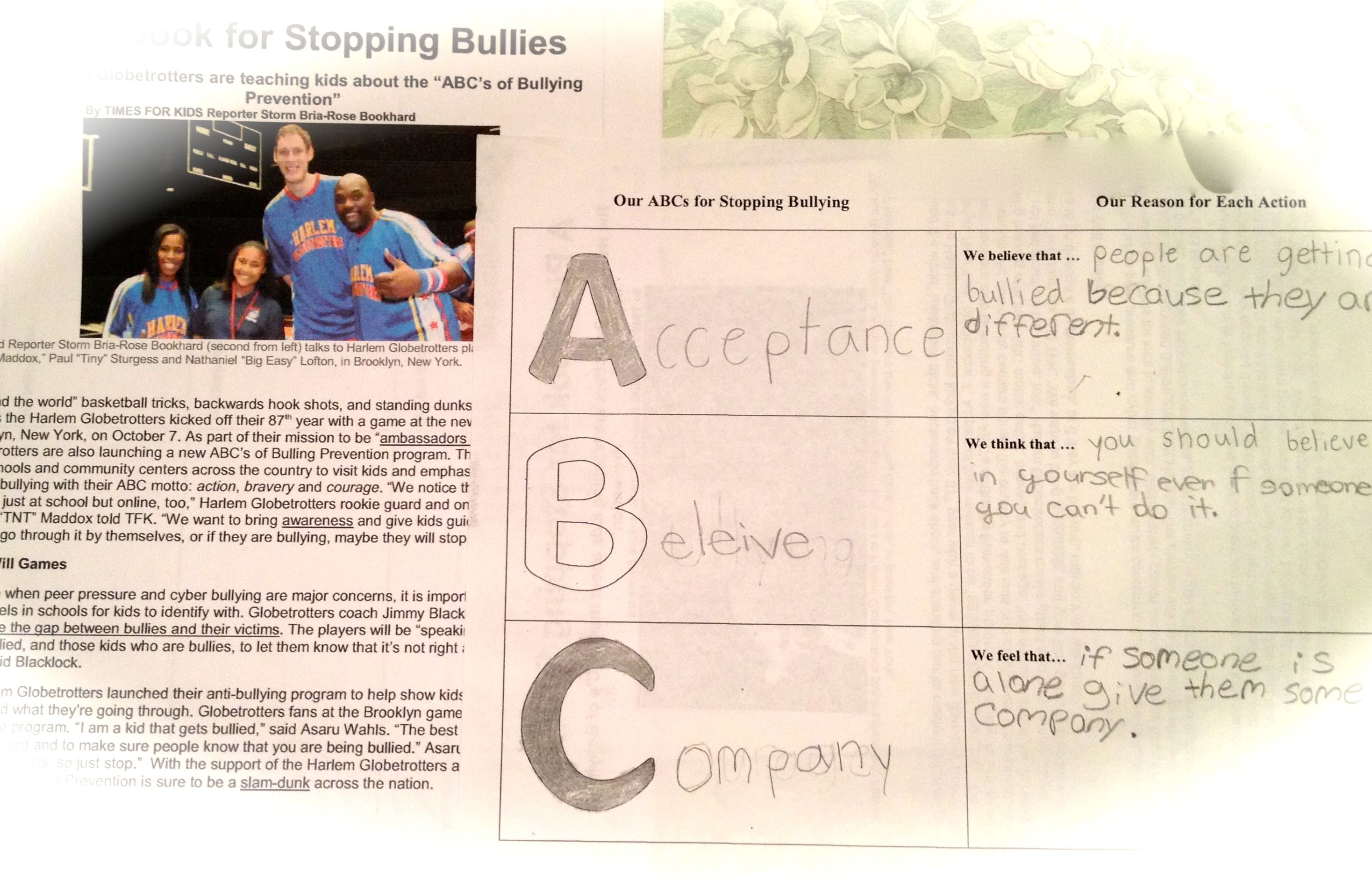 Grades 4 5 Created Their Abcs For Bullying Prevention After