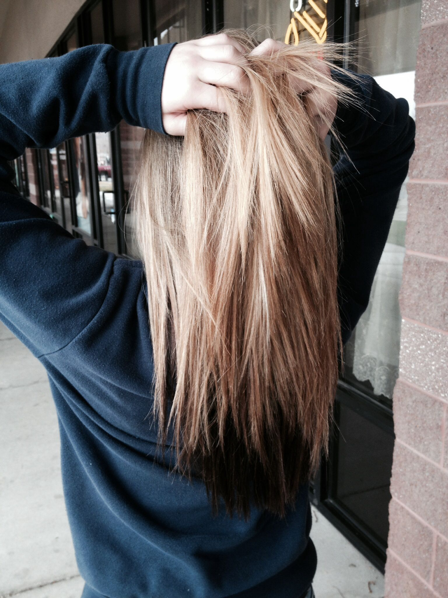 blonde hair with brown