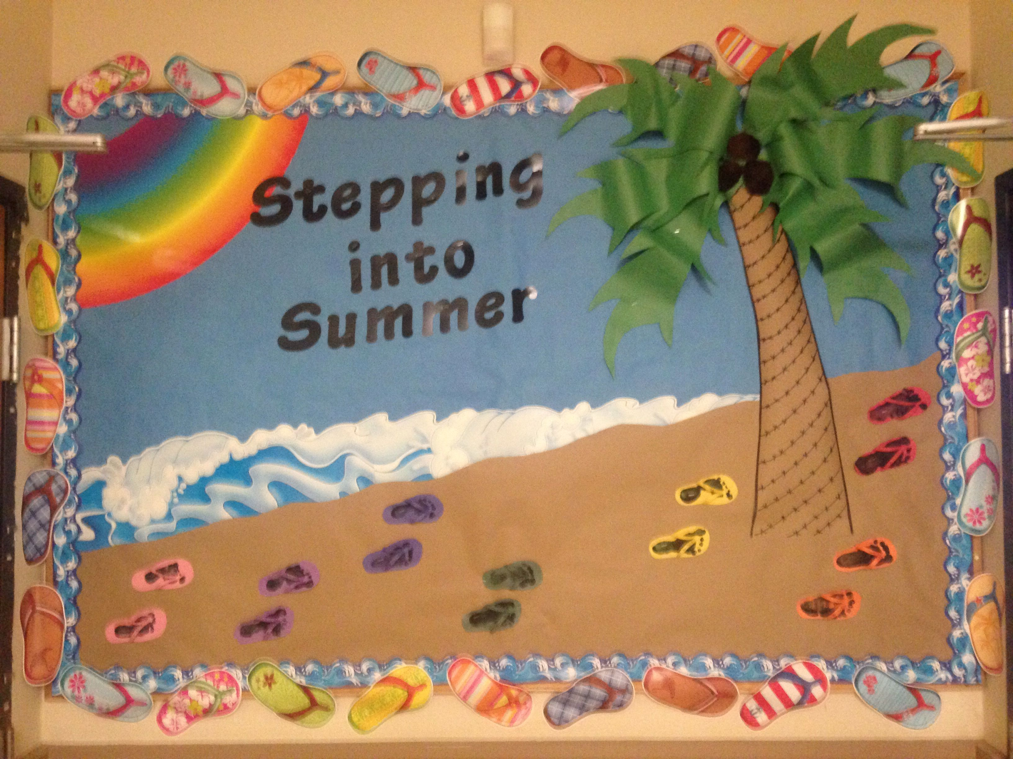 dc1e41994 Summer bulletin board infant footprints on paper flip flops ...