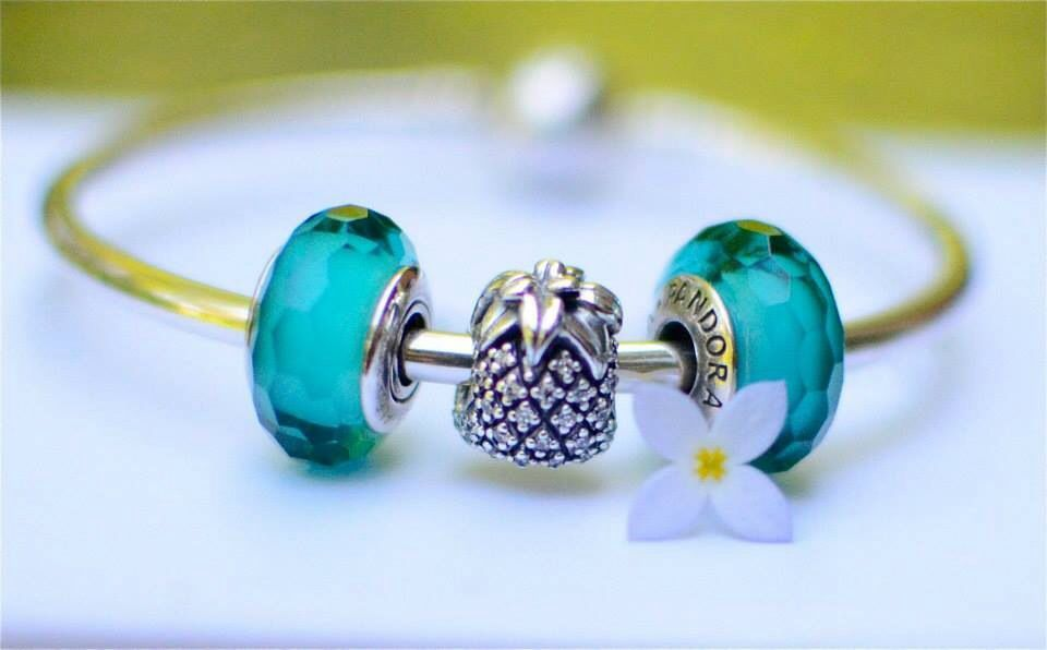 1ed7a629c >>>Pandora Jewelry 60% OFF! >>>Visit>> fascinating teal charm and sparkling  pineapple #Pandoracharms #fashion