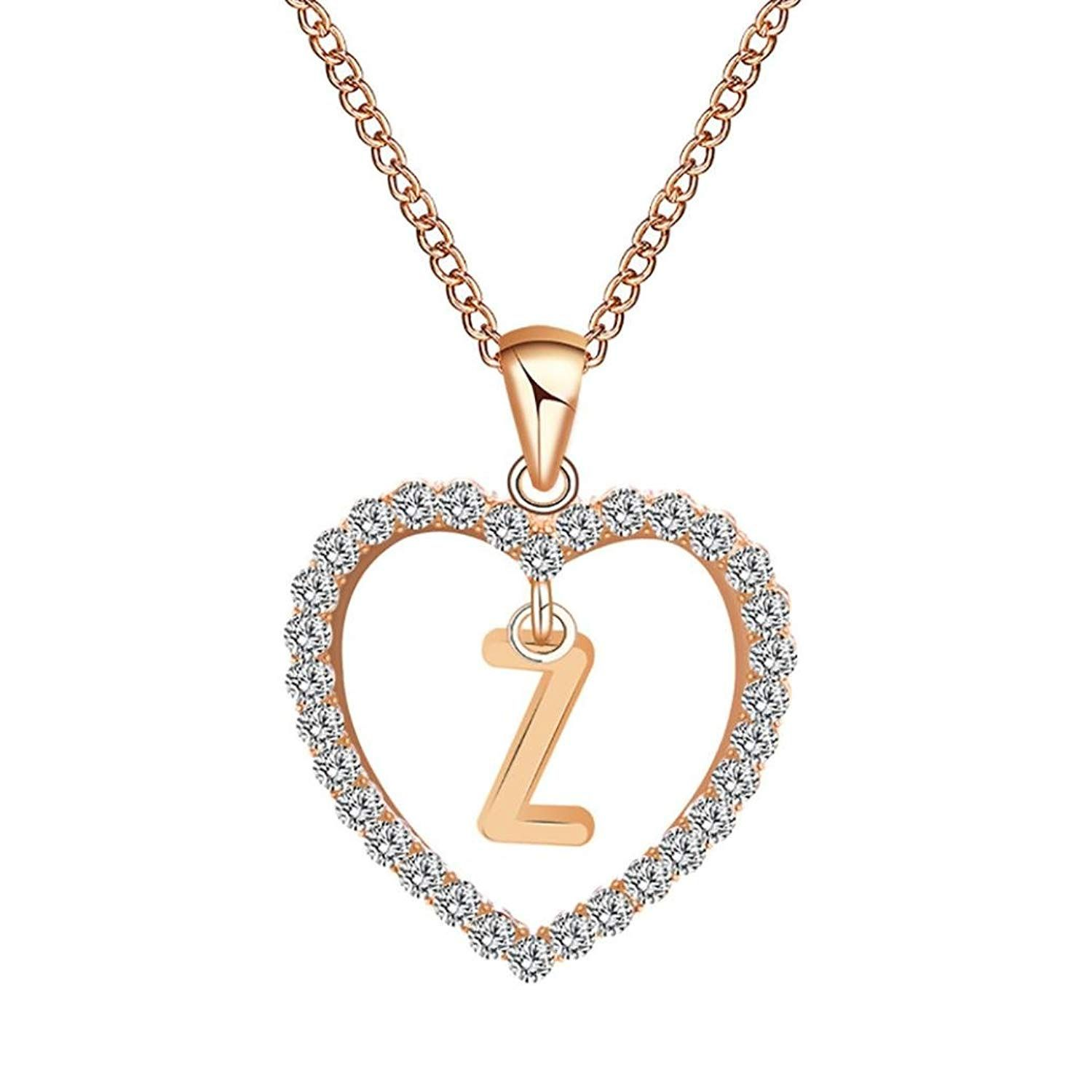 Aooaz Gold Plated Necklace Womens Girls Heart CZ Pendant Necklaces Anniversary
