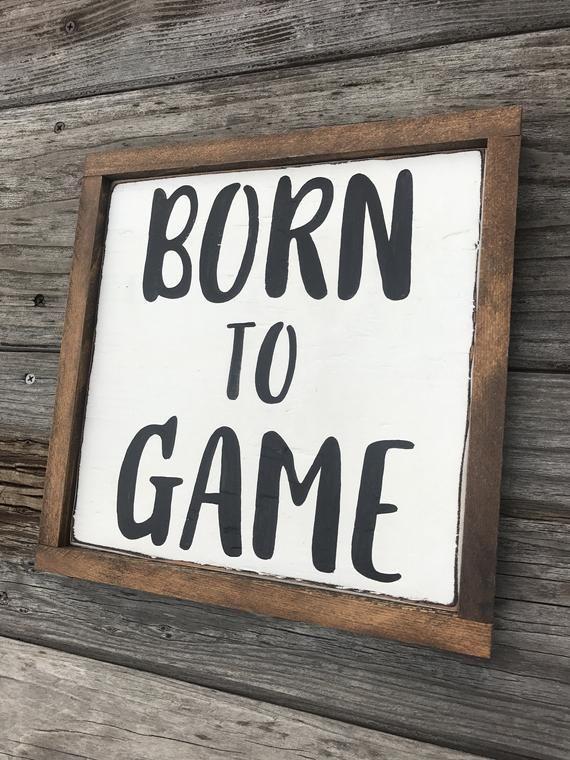 Gamer Room Decor / Born to Game / Gift for Gamer / Video Game Decor / Gamer Nerd Room Decor / Boy Room Wall Decor / Dorm Room