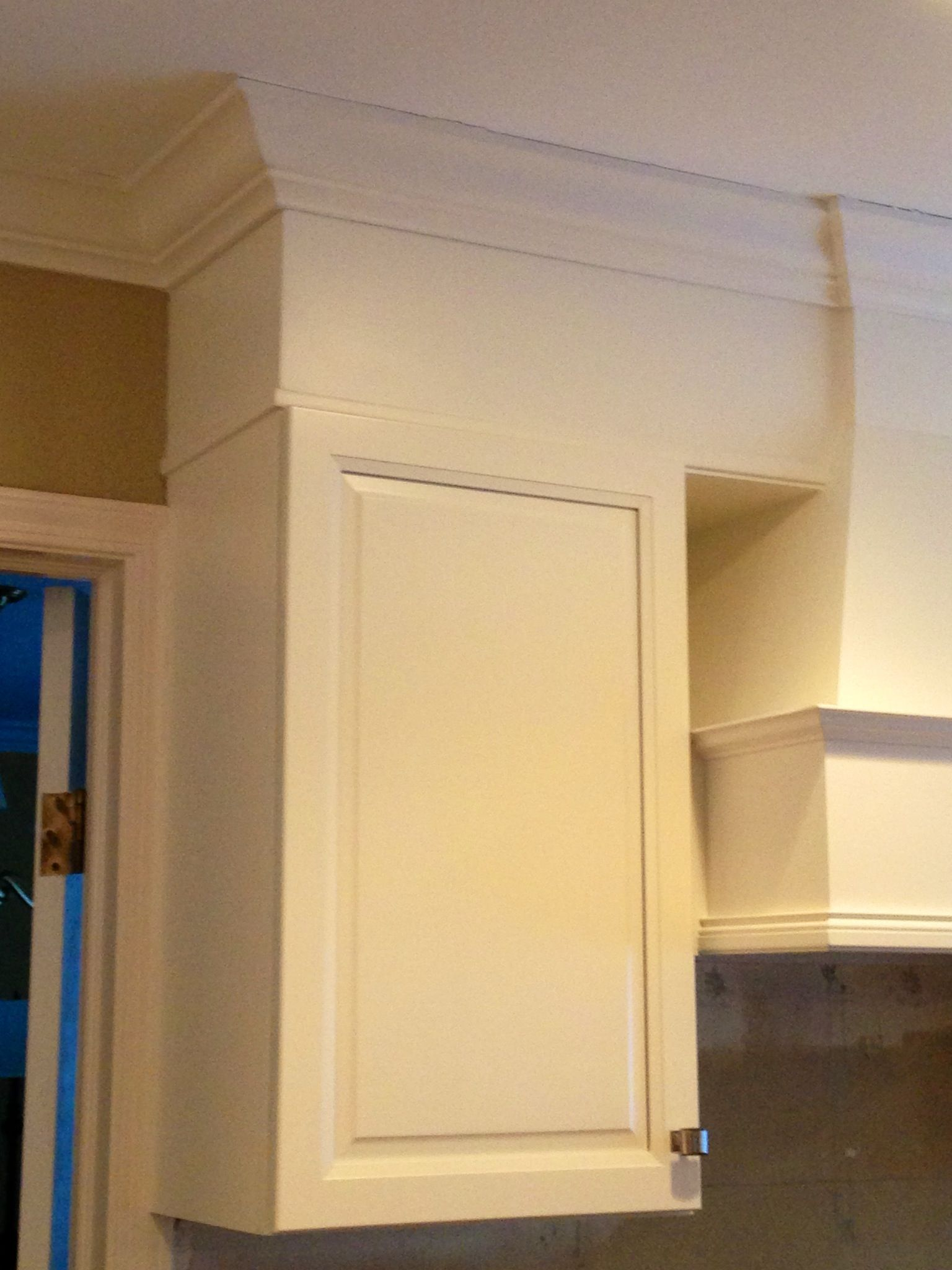 Idea if we have to keep the soffit. I love the trim added to cabinet ...