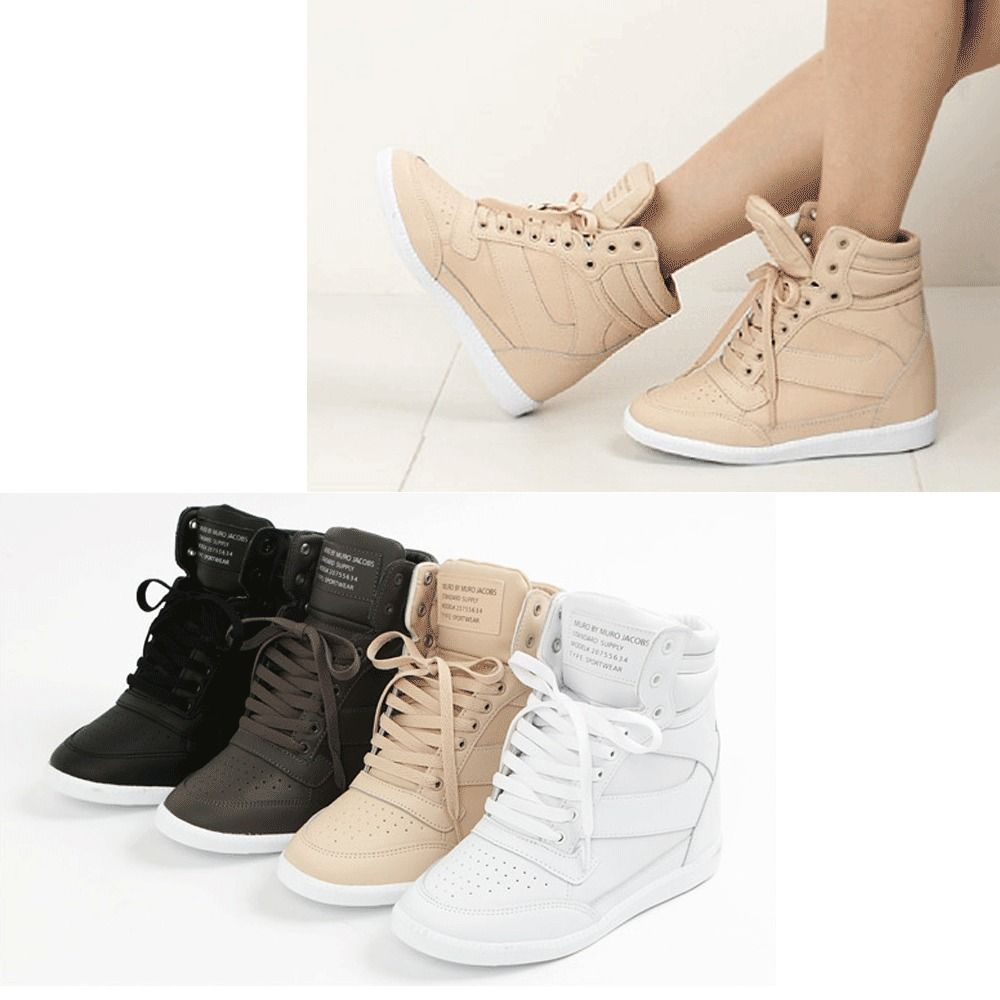 Epic7snob Womens Shoes High Top Wedges Hidden Heel Lace Up Fashion Sneakers  in Clothing