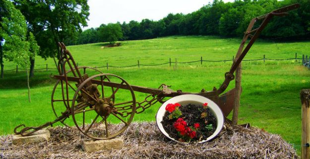 Delicieux Unusual Garden Ornaments   Old Farm Hand Plough