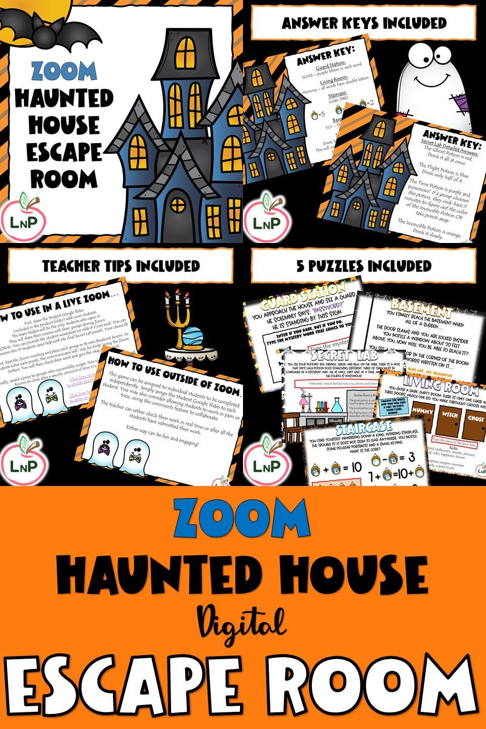 Halloween Haunted House Escape Room Logic Puzzles And Games For Zoom Halloween Activities For Kids Math Center Activities Halloween Class Party