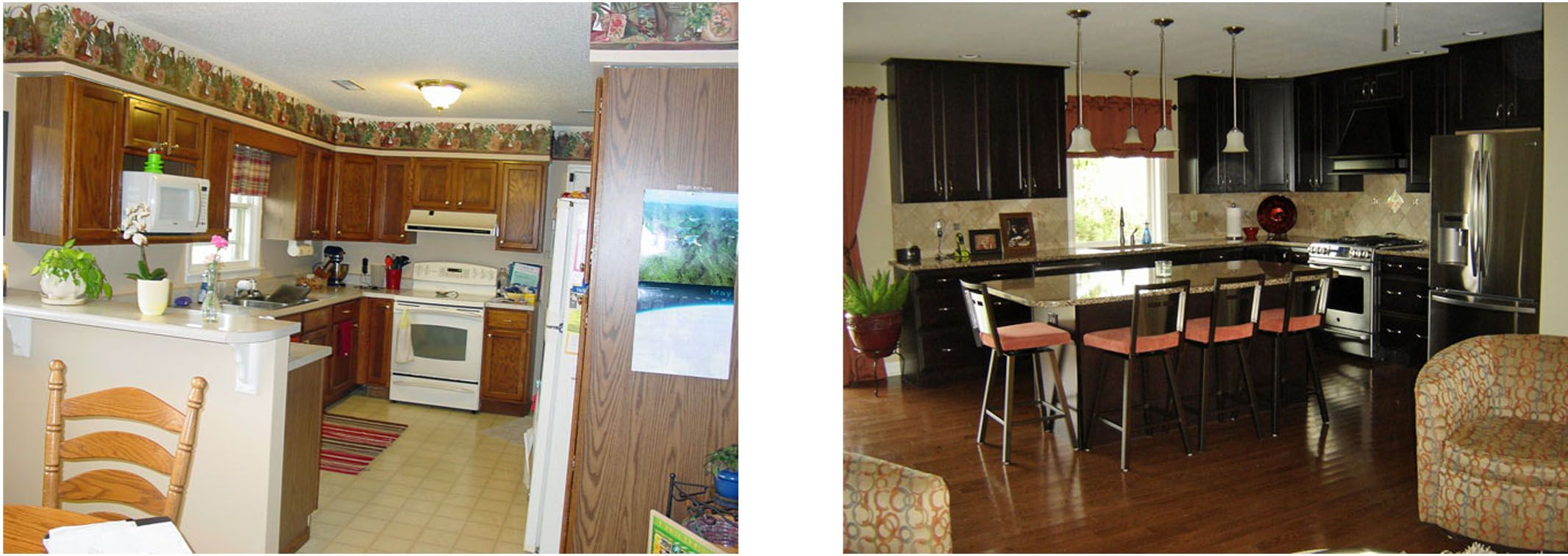 Kitchen Remodel Before And After Removing The Soffit Peninsula And Partial Wall Gave This Home An Kitchen Soffit Remodel Kitchen Expansion Before And After
