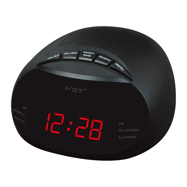 Red Led Digital Radio Alarm Clock With Blue Red Green Backlight